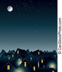 luz de la luna, encima, tejados