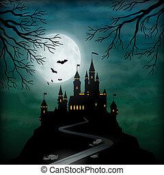 luz de la luna, fantasía, castillo, vector, cielo
