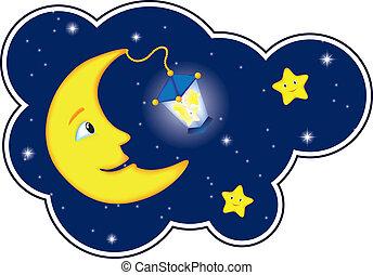 luz de la luna, marco, nube, noche