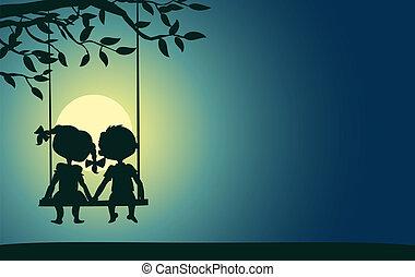 luz de la luna, niño, siluetas, niña