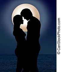 luz de la luna, romance, pareja, debajo