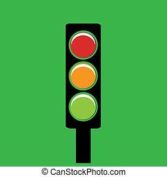 Luz de tráfico en un fondo verde