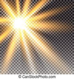 luz del sol, transparente, vector