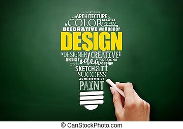 luz, diseño, collage, bombilla, palabra, nube
