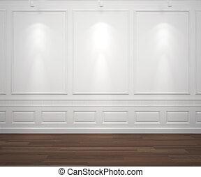 Luz en la pared de clase blanca