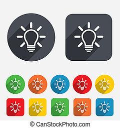 luz, idea, señal, lámpara, icon., símbolo.