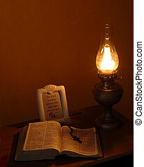 luz, lámpara, aceite