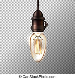 luz, retro, vector, transparente, bombilla, plano de fondo