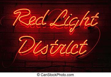 luz, rojo, distrito