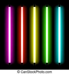 luz, tubo, neón