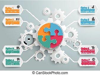Máquina de engranaje 8 opciones rompecabezas círculo
