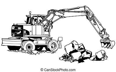 Máquina de Excavator en el trabajo