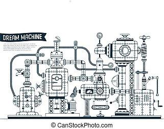máquina, fantástico, steampunk, complejo
