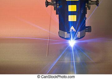 máquina, laser, corte, tecnología