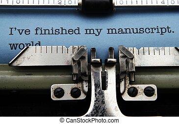 máquina, manuscrito, máquina de escribir