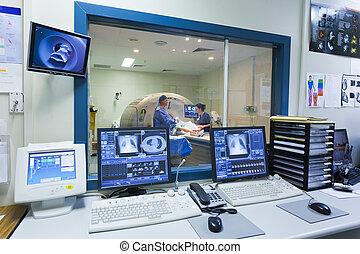 máquina, pantallas, mri