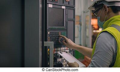 máquina, se apiñar, operar, cnc, trabajador, control, programación, automatizado, hombre