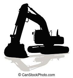 máquina, silueta, trabajo, negro, cavador