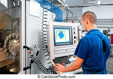 máquina, trabajador, operar, cnc, centro