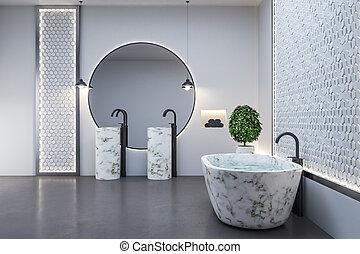 mármol, espejo, cuarto de baño, moderno