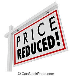 más bajo, precio, venta, valor, señal, hogar, reducido