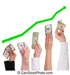 más, concepto, dólar, valioso, conseguir