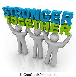 Más fuertes juntos, levantando las palabras