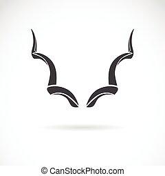 más grande, imagen, plano de fondo, vector, cuernos, kudu, blanco