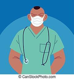 máscara cara, enfermera, utilizar, macho