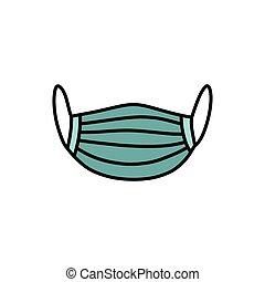 máscara, garabato, color, ilustración médica, icono, vector