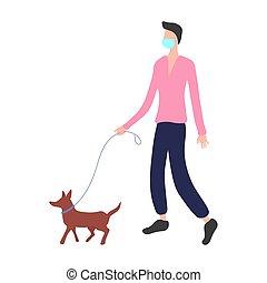 máscara, protector, hombre, paseos, dog.