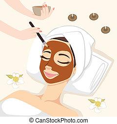 máscara, tratamiento, chocolate