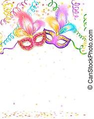 Máscaras de carnaval brillantes con confeti y serpentina sobre fondo blanco
