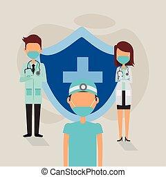 máscaras, médico, hacer frente al protector, personal