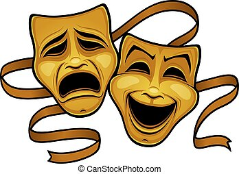 máscaras, oro, tragedia, teatro, comedia