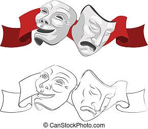 máscaras, teatro, tragedia, comedia