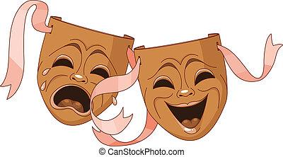 máscaras, tragedia, comedia