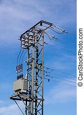 mástil, cielo, transformadores, azul, frente, electricidad