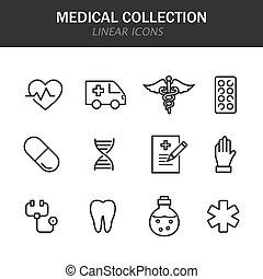 médico, blanco, iconos, colección, lineal, plano de fondo, negro