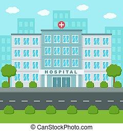 médico, center., edificio, vector, plano, exterior., hospital, ilustración