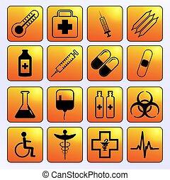médico, circular, iconos, vector, conjunto, símbolos