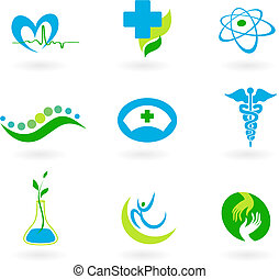 médico, colección, iconos