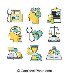 médico, colorido, conjunto, diseño, concepto, empresa / negocio, icono
