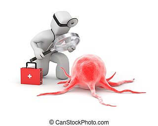 Médico con lupa explora la enfermedad o la célula cancerígena