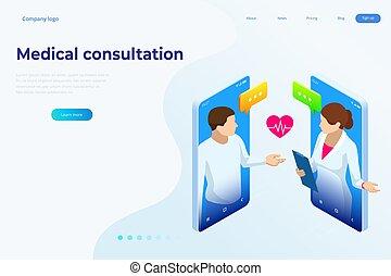 médico, concept., characters., diagnóstico, bandera, cuidado, en línea, seguro, consultation., salud, prescription., isométrico, concepto