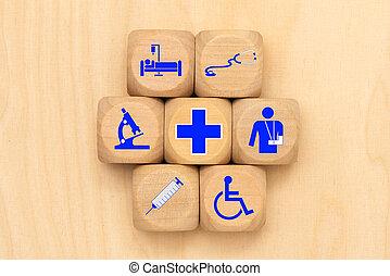 médico, cubos, cuidado, símbolo, de madera