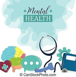 médico, día, cartel, psicología, problema, tratamiento, salud mental