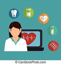 Médico de dibujos animados femeninos iconos de corazón sano