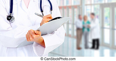 médico, doctor., manos