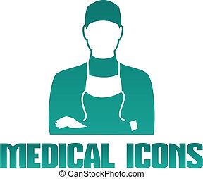 médico, icono, cirujano, doctor